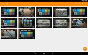 Ansicht im VLC Media Player mit der Übersicht über die Videos, die bereits am Gerät hinterlegt sind.